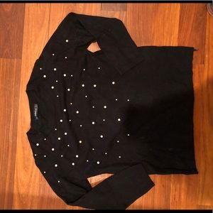 Black Zara sweater with pearl detail
